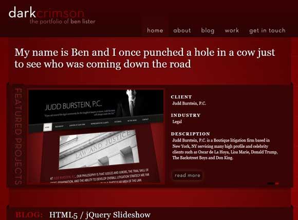 Exemplo de site escuro